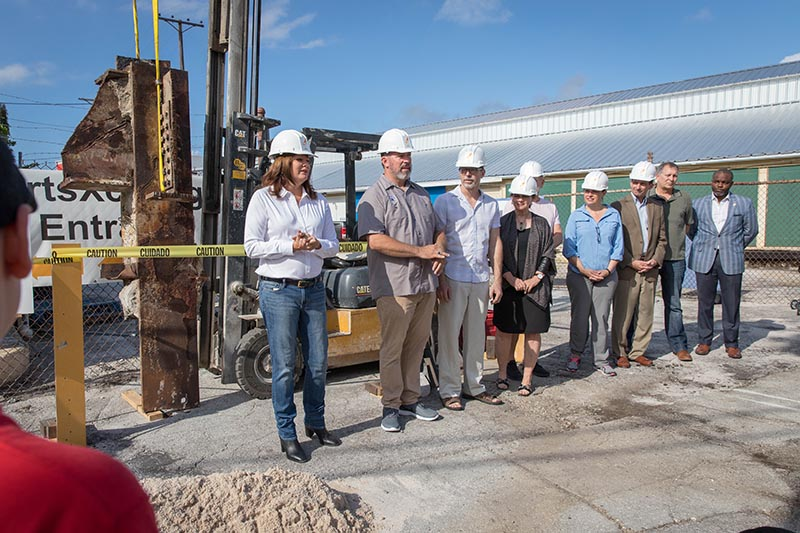 Groundbreaking for a 9/11 memorial sculpture, designed by Mark Aeling, and park in the Warehouse Arts District of St. Petersburg, Florida.